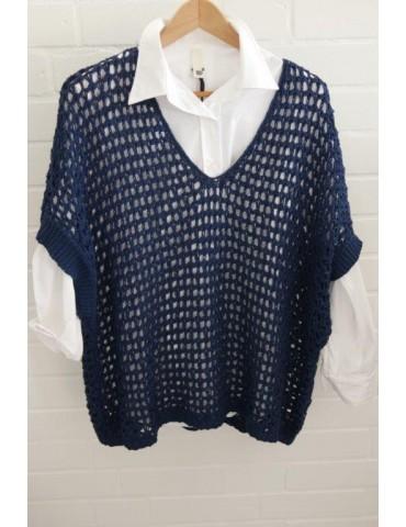 ESViViD Damen Pullunder Lochmuster dunkelblau blau Onesize ca. 38 - 46 mit Baumwolle 3077