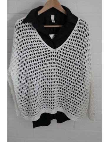ESViViD Damen Pullover Lochmuster off - white creme Onesize ca. 38 - 46 mit Baumwolle 3077