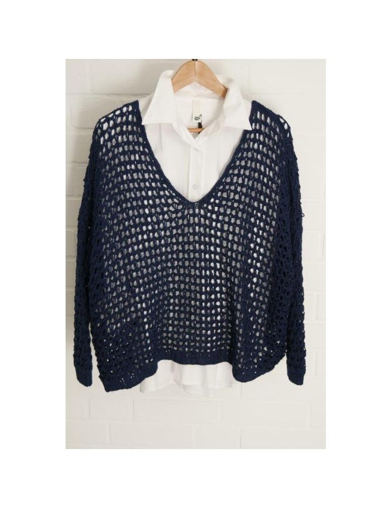 ESViViD Damen Pullover Lochmuster dunkelblau blau Onesize ca. 38 - 46 mit Baumwolle 3077