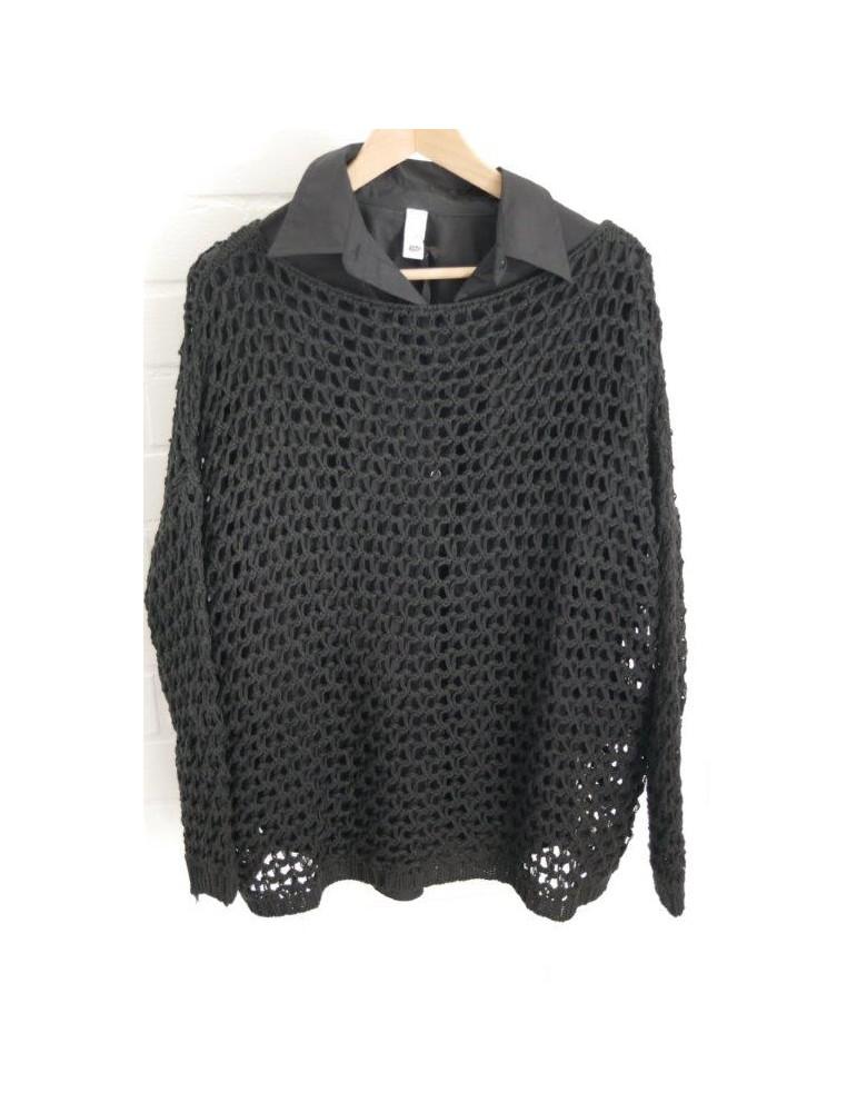 ESViViD Damen Pullover Lochmuster Rundhals schwarz black Onesize ca. 38 - 46 mit Baumwolle 13292