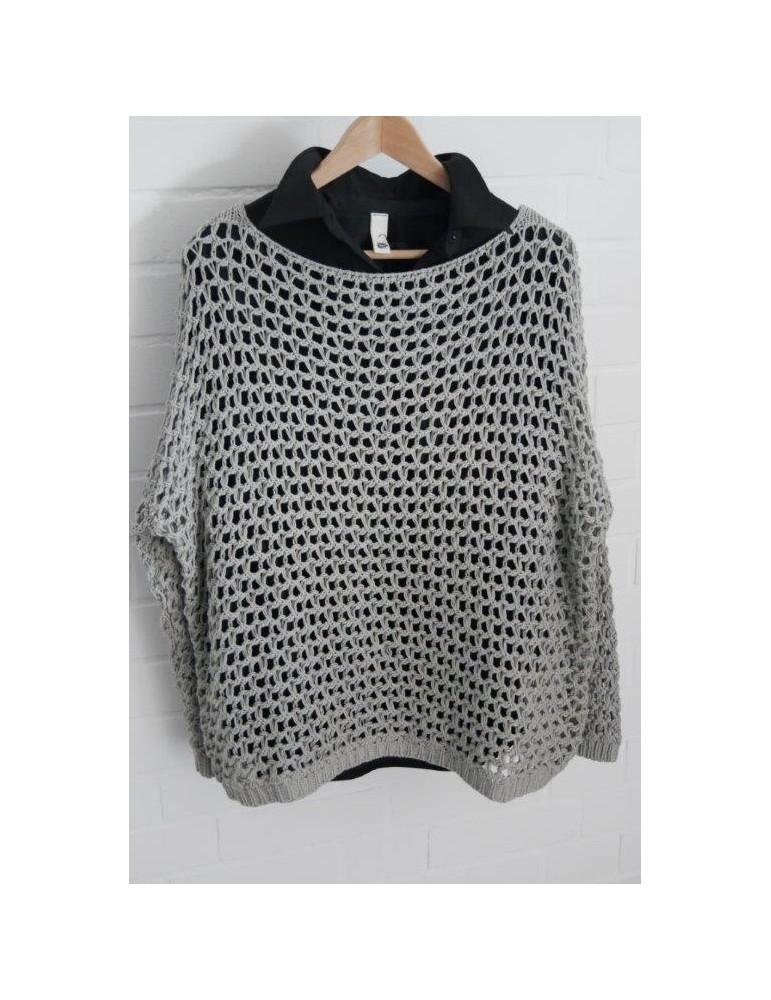 ESViViD Damen Pullover Lochmuster Rundhals grau taupe Onesize ca. 38 - 46 mit Baumwolle 13292