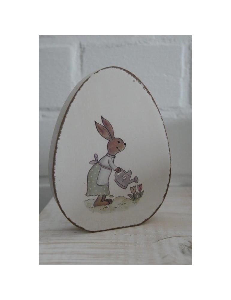 Holz Osterei Hase bunt Vintage Ostern klein