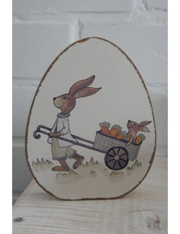Holz Osterei Hase bunt Vintage Ostern groß