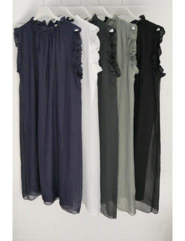 ESViViD Damen Kleid Tunika Seide weiß white...
