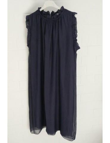 ESViViD Damen Kleid Tunika Seide dunkelblau marine Onesize ca. 36 - 42