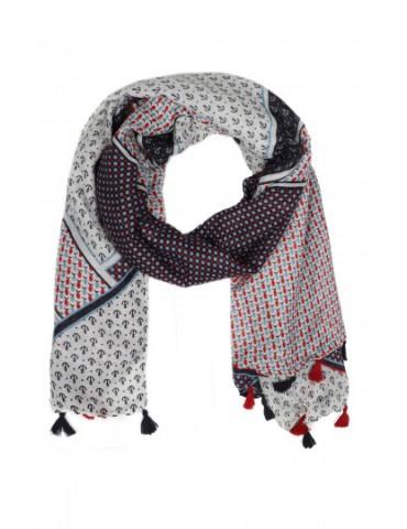 Leichter XL Damen Schal Tuch dunkelbau weiß rot bunt Anker Fische Tasseln Trotteln