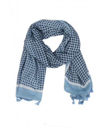 Leichter XL Damen Schal Tuch jeansblau dunkelblau weiß Rauten Tasseln Trotteln