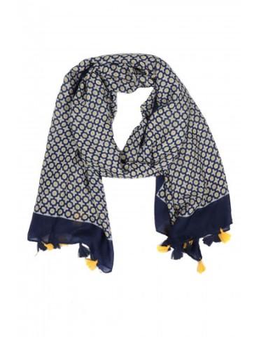 Leichter XL Damen Schal Tuch dunkelblau gelb weiß Kreise Tasseln Trotteln