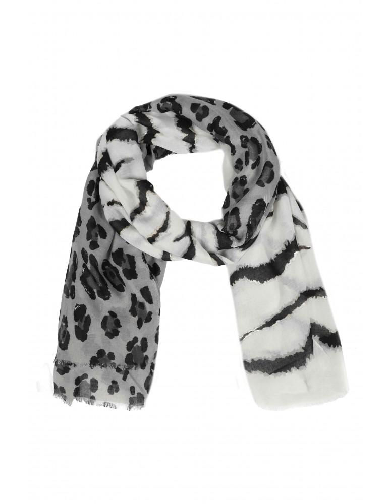 Leichter XL Damen Schal Tuch weiß schwarz grau silber Tiger Leo