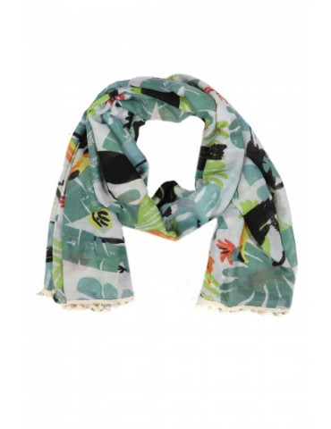 Leichter Damen Schal weiß grün schwarz gelb orange bunt Kakadu Vögel Blätter