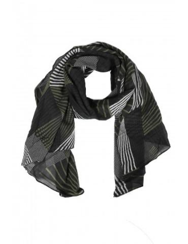 Schal Tuch Loop Made in Italy Seide Baumwolle schwarz oliv weiß Phantasie