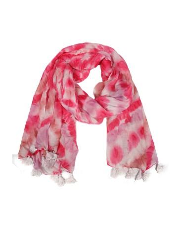 Leichter XL Damen Schal Tuch weiß rose pink rost Batik Tasseln Trotteln