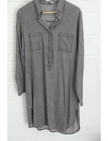 Damen Tunika Kleid grau grey Baumwolle Tencel Onesize 36 38