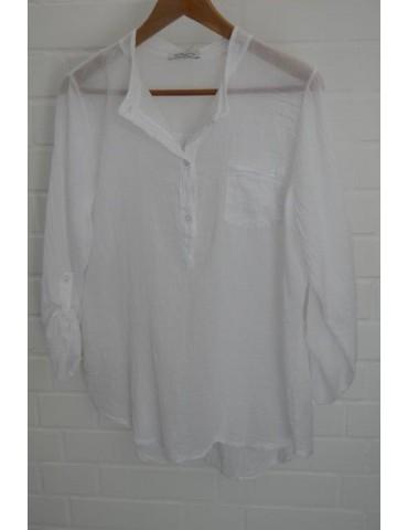 Leichte Damen Bluse langarm weiß white Onesize 38 - 42