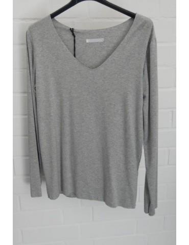 Damen Shirt langarm V-Ausschnitt grau meliert mit Viskose Onesize 36 - 40