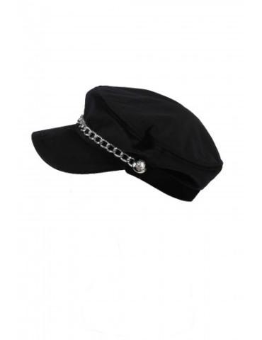 Schieber Mütze Kappe schwarz black Samt uni mit Kette