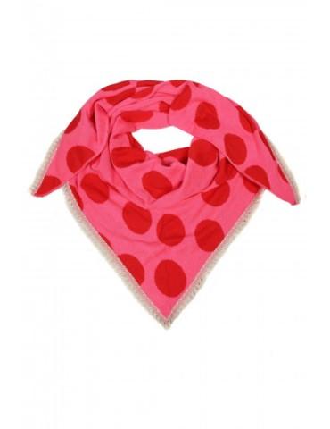 Zwillingsherz Dreieckstuch Schal rot pink Riesen Punkte Bordüre mit Baumwolle