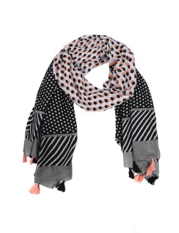 Leichter XL Damen Schal Tuch schwarz lachs grau Streifen Punkte Tasseln Trotteln