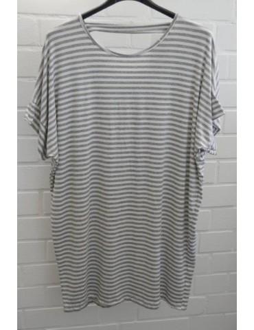 Damen Basic Shirt kurzarm hellgrau weiß Streifen mit Viskose Onesize ca. 38 - 46
