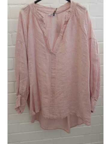 Oversize Damen Bluse Shirt 100% Leinen rose rosa Ballonärmel Onesize 38 - 48
