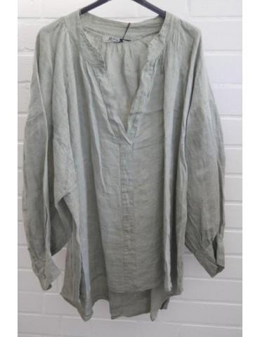 Oversize Damen Bluse Shirt 100% Leinen helloliv lindgrün Ballonärmel Onesize 38 - 48