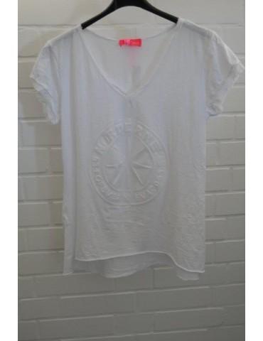 """3D Damen Shirt kurzarm weiß white uni """"Norderney"""" mit Baumwolle Onesize 38 - 42"""