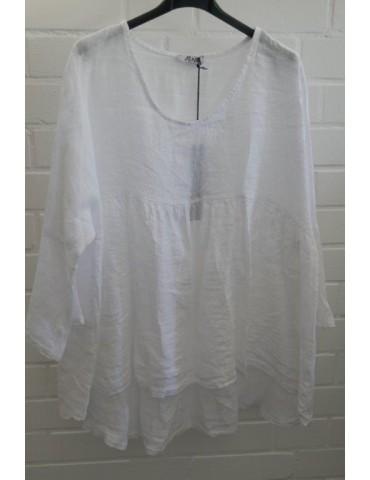 Oversize Damen Bluse Shirt 100% Leinen weiß white Trompetenärmel Onesize 38 - 44