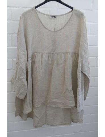 Xuna Oversize Damen Bluse Shirt 100% Leinen beige sand Trompetenärmel Onesize 38 40