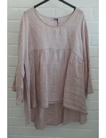 Oversize Damen Bluse Shirt 100% Leinen rose rosa Trompetenärmel Onesize 38 - 44
