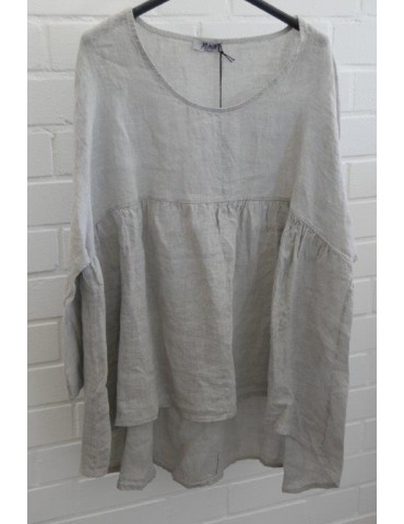 Oversize Damen Bluse Shirt 100% Leinen taupe Trompetenärmel Onesize 38 - 44