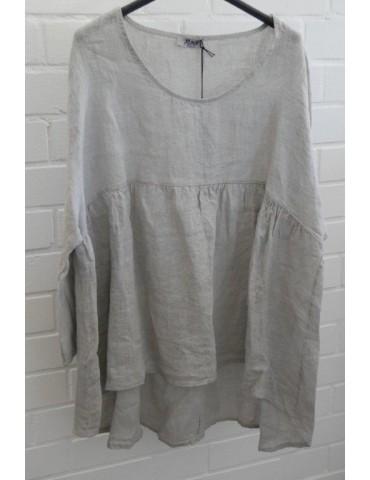 Xuna Oversize Damen Bluse Shirt 100% Leinen taupe Trompetenärmel Onesize 38 40