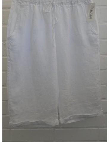 Bequeme Damen 100% Leinen Bermuda Hose weiß white uni Onesize 38 40