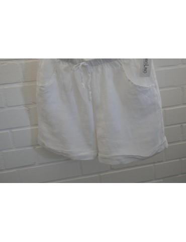 Bequeme Damen 100% Leinen Shorts Hose weiß white uni Onesize 38 40