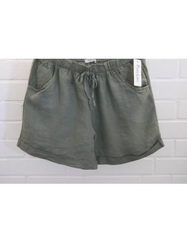 Bequeme Damen 100% Leinen Shorts Hose khaki oliv grün uni Onesize 38 40