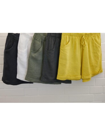 Bequeme Damen 100% Leinen Shorts Hose gelb uni...
