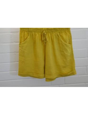 Bequeme Damen 100% Leinen Shorts Hose gelb uni Onesize 38 40
