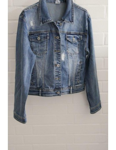 ORMI Jeansjacke Damen Jacke Jeans blau mit Baumwolle und Pailletten
