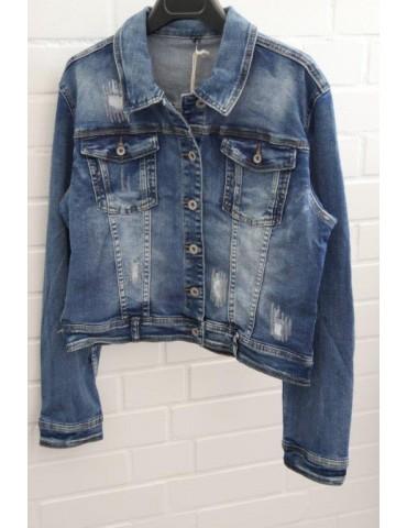 Melly & Co Jeansjacke Damen Jacke Jeans blau mit Baumwolle und Pailletten