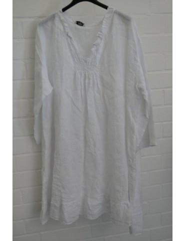 Xuna Damen Tunika Kleid 100% Raffung Leinen weiß white Onesize 38 - 46
