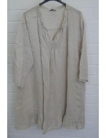 Xuna Damen Tunika Kleid 100% Raffung Leinen beige sand Onesize 38 - 46