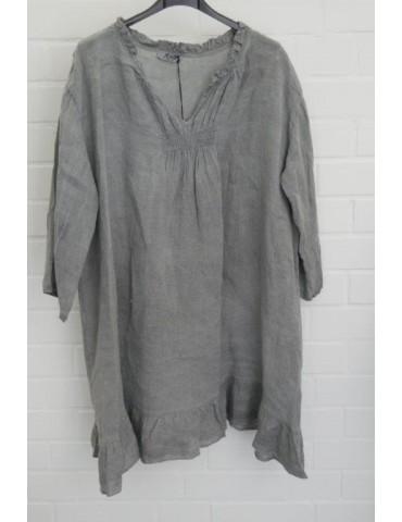 Xuna Damen Tunika Kleid 100% Raffung Leinen grau grey Onesize 38 - 46