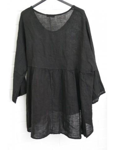 Oversize Damen Bluse Shirt 100% Leinen schwarz black Trompetenärmel Onesize 38 - 44