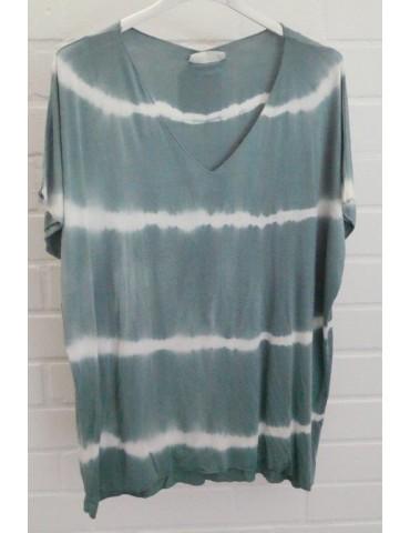 Damen Batik Shirt kurzarm petrol creme Streifen mit Viskose 38 - 42