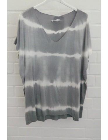 Damen Batik Shirt kurzarm grau creme Streifen mit Viskose 38 - 42
