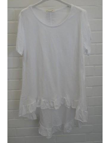 Damen Rüschen Shirt kurzarm weiß white mit Baumwolle Onesize 38 - 42