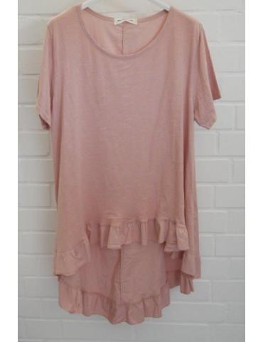 Damen Rüschen Shirt kurzarm rose rosa mit Baumwolle Onesize 38 - 42
