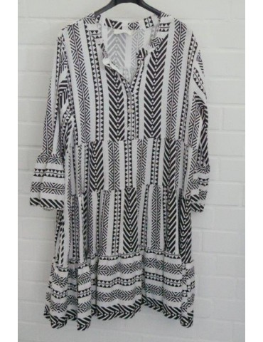 Damen Tunika Kleid A-Form schwarz weiß Kufiya Onesize ca. 38 - 44