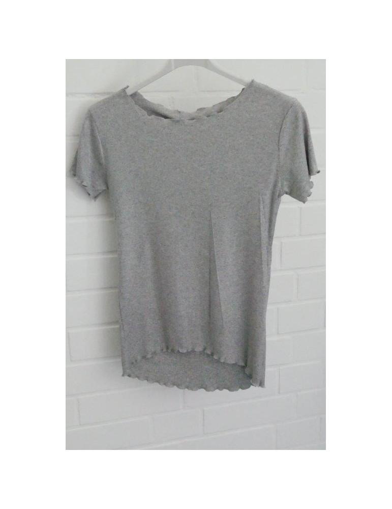 Damen Rippen Shirt kurzarm hellgrau grau mit Viskose Wellen Stern Onesize 36 38