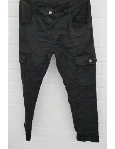 Damen Cargo Hose schwarz black mit Lyocell Onesize 38 40