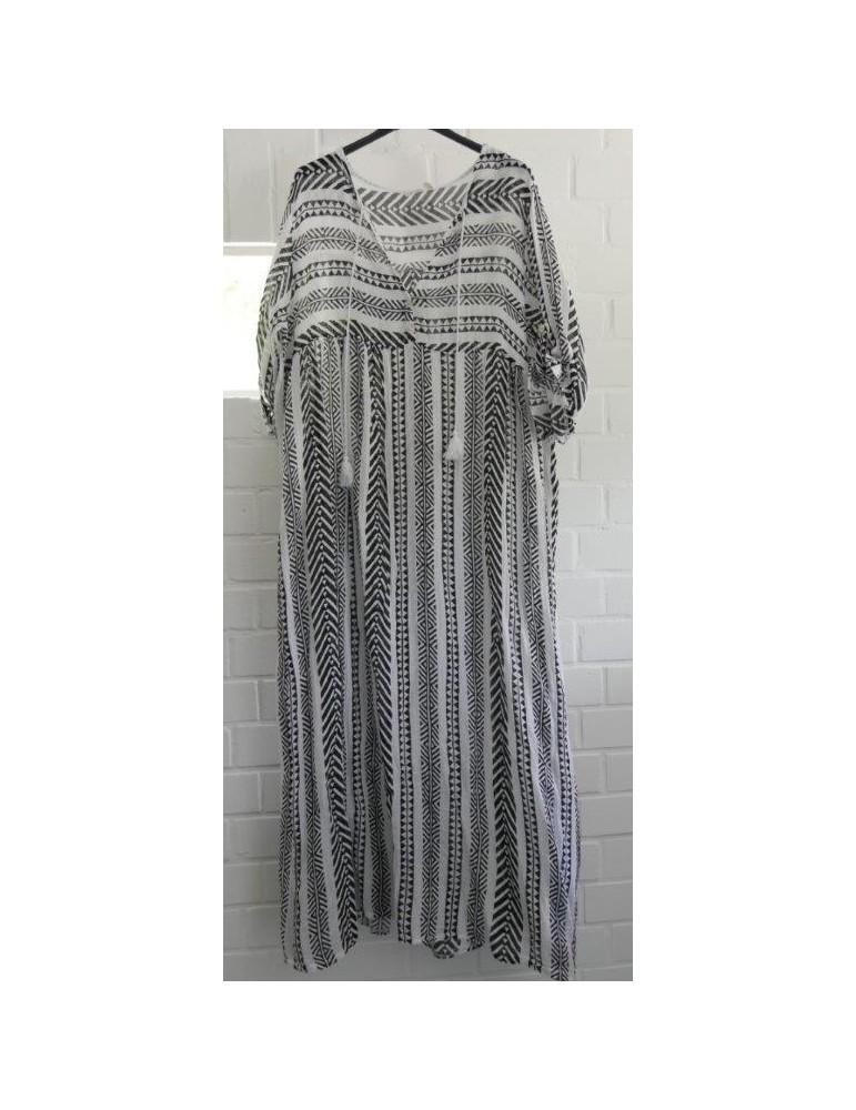 Damen Maxi Kleid schwarz weiß Baumwolle Kufiya Onesize 38 - 42
